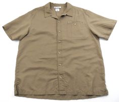 Columbia Short Sleeve Button Front Shirt Khaki Mens Size XL Ramie Cotton Blend #Columbia #ButtonFront