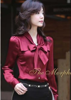 Morpheus Boutique  - Burgundy Satin Bow Ruffle Collar Long Sleeve Celebirty Lady Shirt