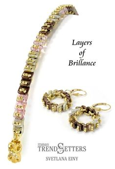 Layers of Brilliance by TrendSetter Svetlana Einy  36 CzechMates QuadraTile 2g 15/0 Seed Beads 36 2mm Fire-Polished Beads