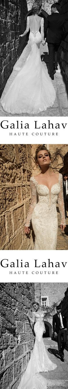 Navona from La Dolce Vita collection by #GaliaLahav Shimmering fabric constructed into a mermaid silhouette. Very deep falling neckline and very low naked back. Sheer detail with super positioning in the lace.