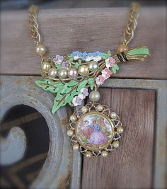 Milady's Bouquet Shabby Chic Bridal Necklace by MorticiaSnow, $88.00