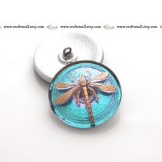 Handmade Czech glass dragonfly button  31mm turquoise and gold by Craftemall. This lovely irredescent button can be used for soutache bead embroidery or to transform a plain jacket into something unique.