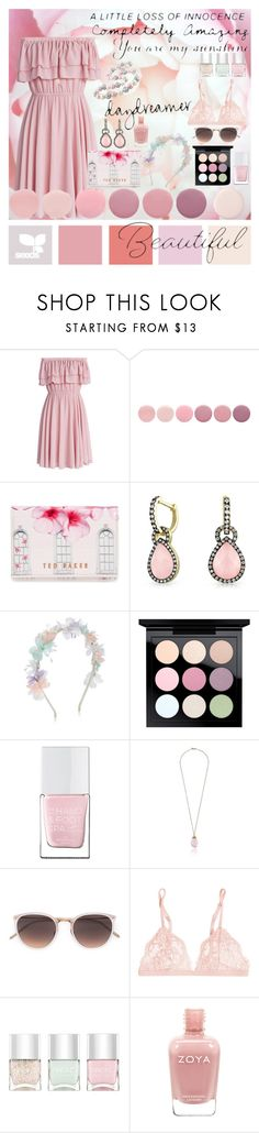 """Cover Me in Pastels"" by rosiecheeksandfreckles ❤ liked on Polyvore featuring Chicwish, Deborah Lippmann, Ted Baker, Bling Jewelry, Monsoon, MAC Cosmetics, The Hand & Foot Spa, Carolee, Linda Farrow and La Perla"
