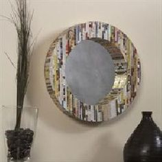 Round Wall Mirror - Recycled Magazine