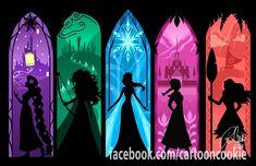 Rapunzel, Merida, Elsa, Anna, Moana.