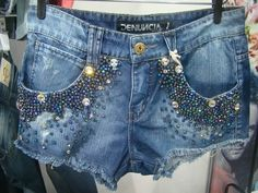 -denim short with embroidered pockets, beaded denim, distress denim
