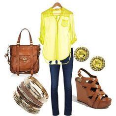 Calça jeans camisa amarela