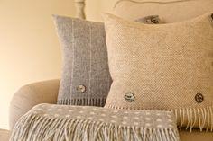 Buy a Natural Herringbone Shetland Quality Pure New Wool Cushion – Skipperwood Home Neutral Colors, Colours, Cushion Ideas, Mother Of Pearl Buttons, Herringbone Pattern, 100 Pure, Soft Furnishings, Snug, Sweet Home