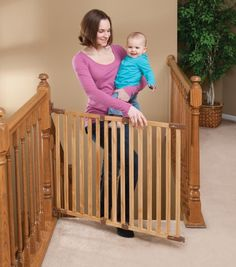Angle Mount Wood Safeway Baby/pet Gate - Oak Finish