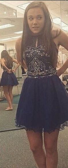 2016 Dark Navy Homecoming Dresses Two-Piece High Neck Crystals Short Prom Dresses Graduation Dresses