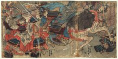 The encounter between two great generals, Takeda Shingen and Uesugi Kenshin in the battle of Kawanakajima that in the 16th century opposed the two provinces Kai and Echigo. Kenshin galloped into the enemy camp, brandishing his sword with both hands above his head while his horse stands. Taken by surprise Shingen raises his war fan to ward off the blow. Around them the battle rages in the night.