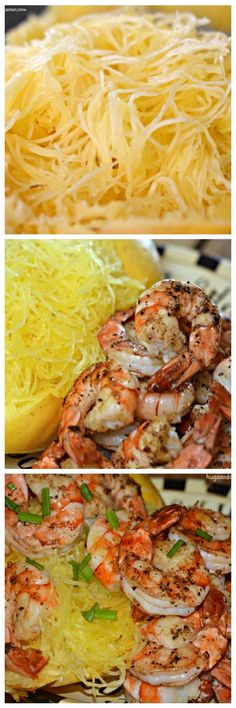 spaghetti squash & grilled shrimp - seafood, shellfish dinner, main dish recipe.