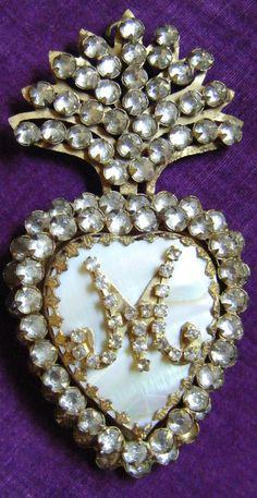 SALE Ex voto sacred heart religious reliquary Ave Maria locket