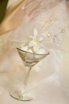 Jordan Almonds wedding favors in martini glass