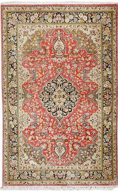 Silk Qum rug  Central Persia  Contemporary  size approximately 4ft. 5in. x 7ft.