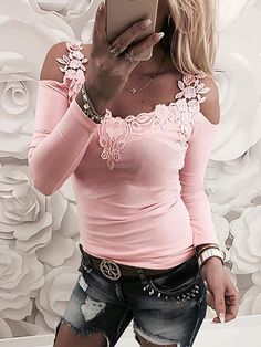 4f2a85229a Shop Lace Applique Long Sleeve Slim Fit Casual Blouse – Discover sexy women  fashion at IVRose. Debbie Short