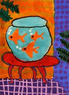 "From exhibit ""Matisse Goldfish -2"" by nina703 (Art ID #18498189)  from Whitney Elementary School— grade 2  United States - Henri Matisse - Oil Pastel and Watercolor Resist - Patterns in Art -"