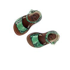 Kinderschoen online Gallucci sandaal Groene slangensandaal