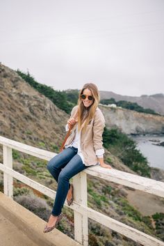 Gal Meets Glam Misty Views - Old Navy jacket & shirt, tee, jeans, & flats c/o, Chloe bag & Illesteva sunglasses