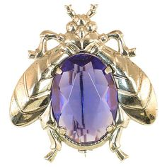 1930s Sterling & Crystal Insect Brooch