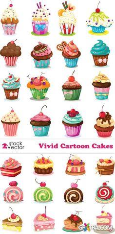 Vectors - Vivid Cartoon Cakes