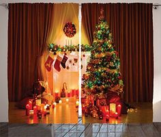 Christmas Curtain Decor Christmas Decorations for Window by Ambesonne Christmas Tree Stockings Candles Gift Boxes Spirit in the House with Lights Living Room Bedroom 2 Panels Set 108 X 84 Multi ** See this great product. (This is an affiliate link) Christmas Tree Candles, Christmas Lamp, Christmas Lights, Christmas Eve, Christmas Backdrops, Christmas Decorations, Holiday Decor, Gift Wrap Ribbon, Gifts