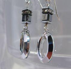 Swarovski Crystal Earrings, Modern Earrings, Oval Shape Earrings, Cube Earrings, Black Earrings, 1071 by ThreeMagicGenies on Etsy