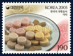 Korean Food Series (3rd), Dasik, Traditional Food, Ivory, Pink, Orange, 2003 06 13, 한국의 전통음식 시리즈(세번째묶음), 2003년06월13일, 2330, 다식, postage 우표