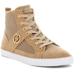 GUESS Mamari Hi Top Sneaker ($55) ❤ liked on Polyvore featuring shoes, sneakers, round toe sneakers, laced sneakers, high top trainers, high top sneakers and guess footwear