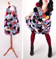 this piece is made of about 250 handmade recycled fabric flowers sewn on a sleeveless T-shirt.