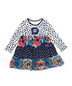 Loving this Blue Floral Tier Dress - Toddler & Girls on #zulily! #zulilyfinds
