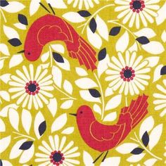 165871 süßer Kokka Stoff mit rotem Vogel