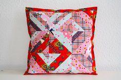 Kissenbezüge - Patchworkkissen Kissen rosa rot Herzen 40x40 cm - ein…