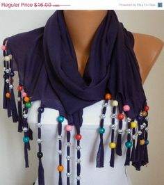 Bead Scarf   scarf shawl  Sale scarf   Free scarf  Purple by anils, $14.40