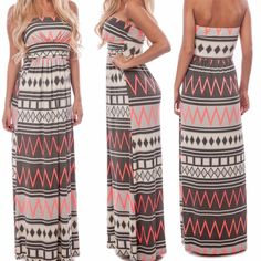 """Aztec Tribal Chevron Strapless Dress S M L Lined bust  Length: 50""""  Colors: Grey, Cream, and Neon Coral aztec chevron printed dress with empire waist and pockets Dresses Maxi"""