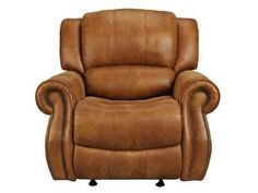 This Plush Saddle Colored Faux Leather Chaise Rpcker Recliner Features  Large Round Transitional Arms Accented With