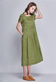 Linen Tunic Dress In Green Maxi Dress Linen Dress Woman Green Dress Pleated Dress Short Sleeve Dress Summer Linen Dress Fashion Show Dresses, Trendy Dresses, Elegant Dresses, Short Sleeve Dresses, Dress Fashion, Long Sleeve, Linen Tunic Dress, Linen Dresses, Cotton Dresses