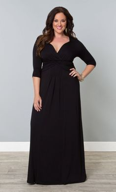 Desert Rain Dressy Casual Long Maxi Dress, Black (Womens Plus Size) From the Plus Size Fashion Community at www.VintageandCurvy.com