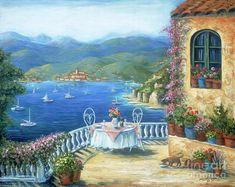 Pintura del gato - Comida italiana en la terraza de Marilyn Dunlap