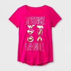 Girls' DC Comics Justice League Graphic T-Shirt - Fuchsia XS, Pink