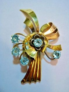 VINTAGE HARRY ISKIN AQUA RHINESTONE BROOCH #HarryIskin