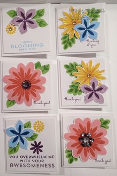 handmade note cards ... 3x3's ... sweet groupings of layered flowers from Flower Patch collection ... Stampin' Up!