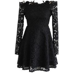 Chicwish Precious Love Floral Crochet Off-Shoulder Dress in Black ($60) ❤ liked on Polyvore featuring dresses, black, gothic dress, goth dress, off shoulder floral dress, crochet lace dress and off-shoulder dresses