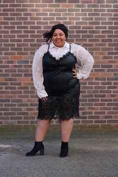 fdf6fc4390e Honeycomb laser cut faux leather dress