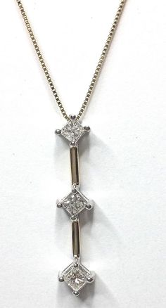 Diamond 3 Stone Necklace .55CTW Princess Cut Pendant Past Present Future GV92151 #NA #Pendant