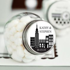 New York Personalized Mini Candy Jar - New York Wedding Favors - Wedding Favor Themes - Wedding Favors & Party Supplies - Favors and Flowers
