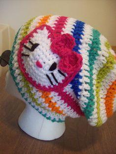free hello kitty scarf crochet pattern   Crochet Rainbow Hello Kitty Slouch Hat - Picture Idea