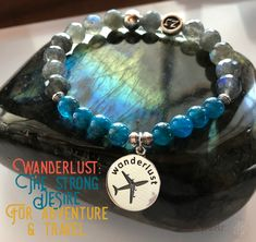 Raise your hand if you LOVE to travel or have a strong desire for wandering! This bracelet was designed with YOU in mind. Bermuda Blue Apatite & top quality Iridescent Labradorite are the featured gems in this one of a kind bracelet. wanderlust | explore | wanderer | Labradorite | Apatite jewelry | zen jewelz | ZenJen