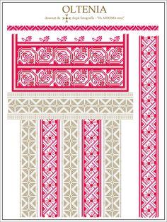 Semne Cusute: IA AIDOMA 002 - Gorj, Oltenia, ROMANIA Folk Embroidery, Learn Embroidery, Embroidery For Beginners, Embroidery Techniques, Embroidery Patterns, Cross Stitch Patterns, Machine Embroidery, Embroidery Stitches, Palestinian Embroidery
