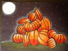 Pile of Pumpkins Art Project  crayon on orange paper, great lesson in shading and light, each kid needs a light and dark orange and a black and white and green crayon.........cut out each pumpkin and glue on black paper into pile..